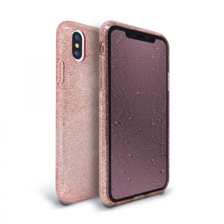 Apple iPhone Xs/X Glitter Case (Rose) & Glitter-Infused (Pink) Tempered Glass Screen Protector | 2 in 1 Bundle Package