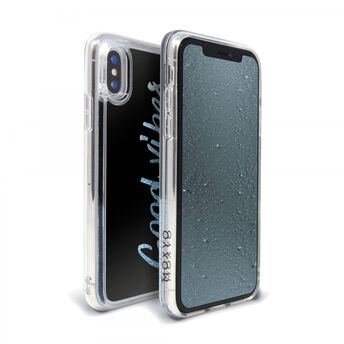 Apple iPhone Xs/X Waterfall Case (Good Vibes) & Glitter-Infused (Blue) Tempered Glass Screen Protector | 2 in 1 Bundle Package