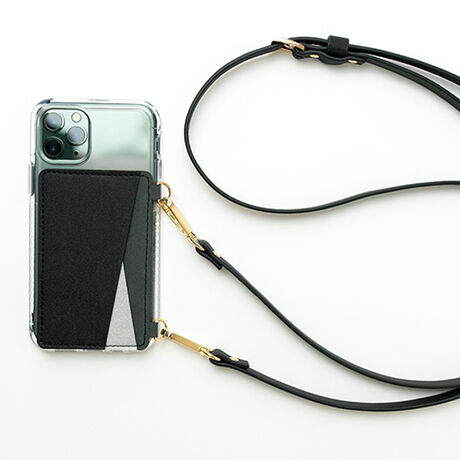 Crossbody Phone Wallet with Strap (Black)