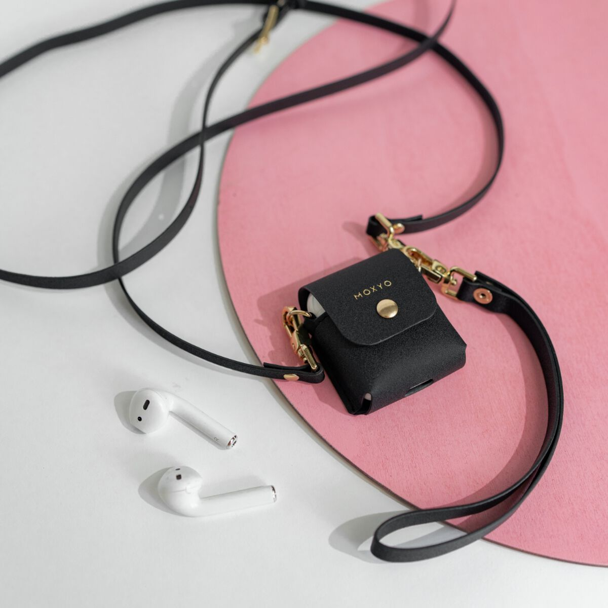 AirPods Case with Crossbody and Wrist Straps (Black) - Original AirPods