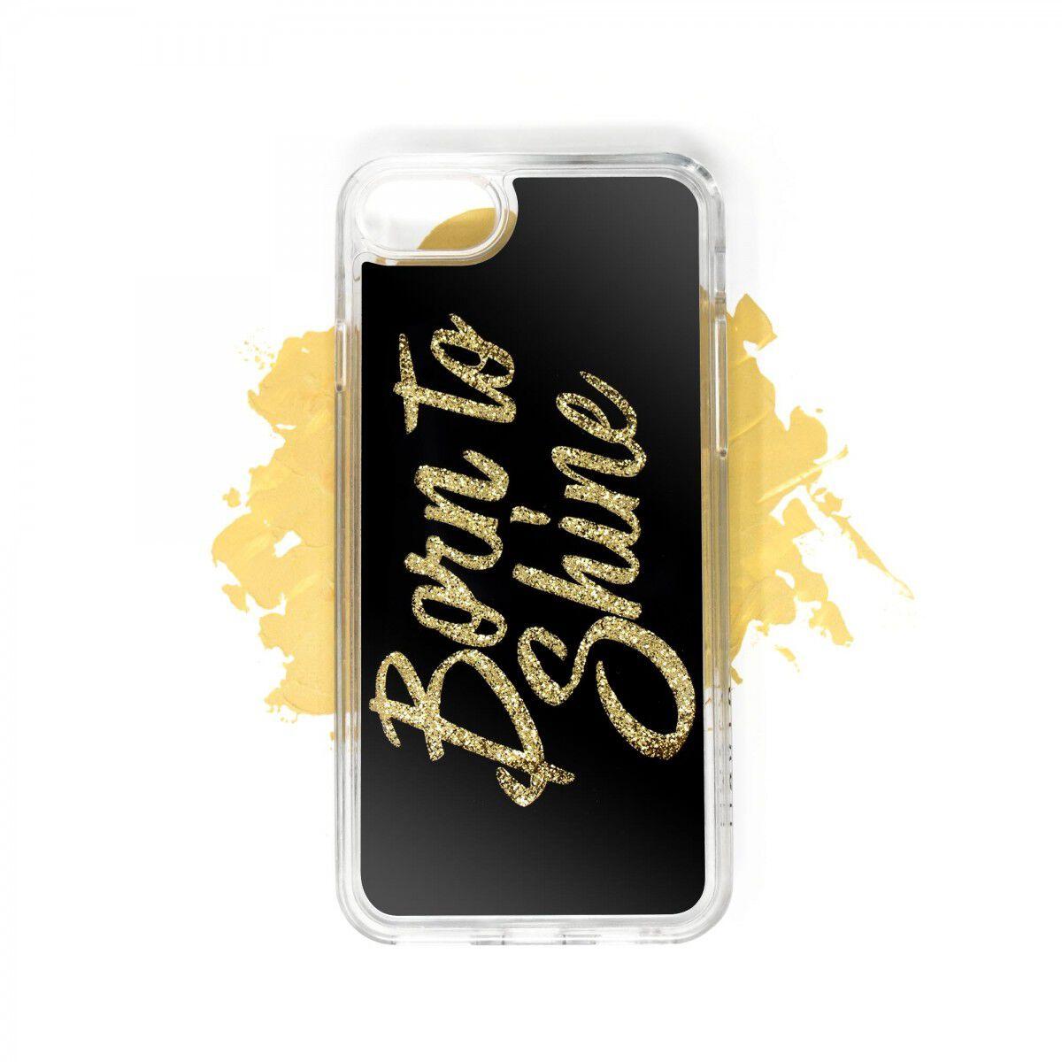 Born to Shine Liquid Glitter Case (Gold) for Apple iPhone 8, 7, 6s, 6