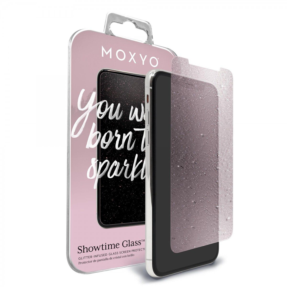 Large glitter glass screen protector with packaging for iPhone 11 Pro Max and iPhone Xs Max