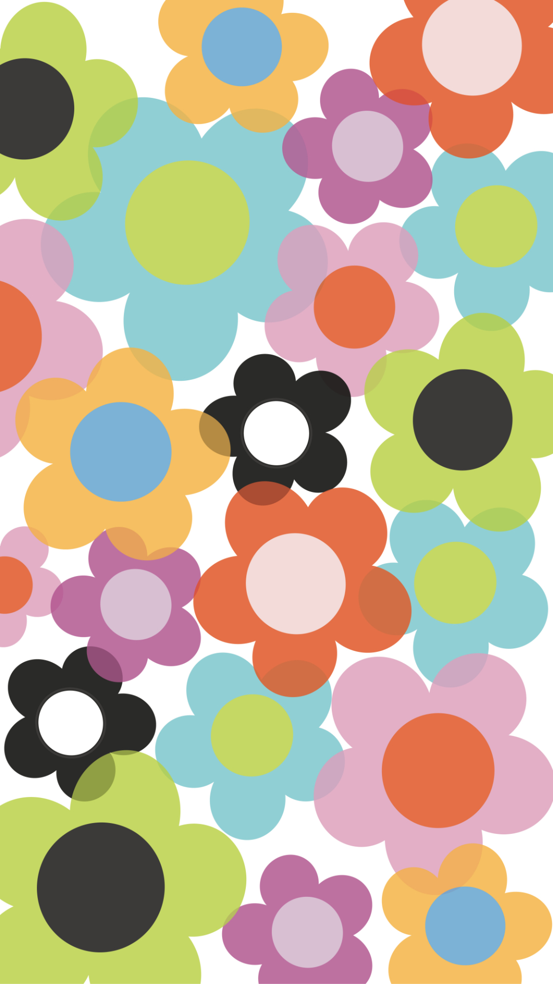 Summer phone wallpaper with multi-color flower petals