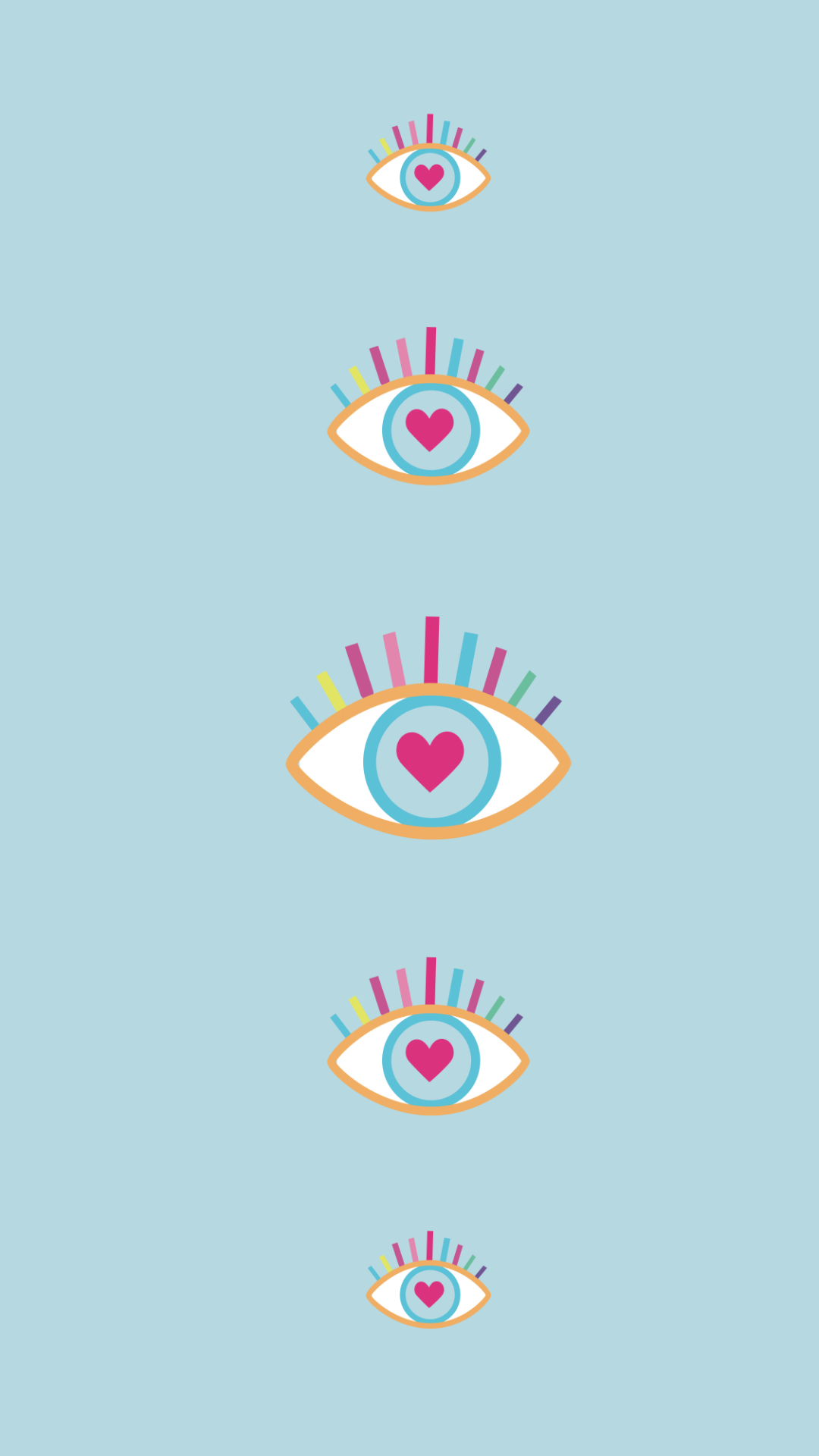 Summer phone wallpaper with eyes and hearts design on blue background