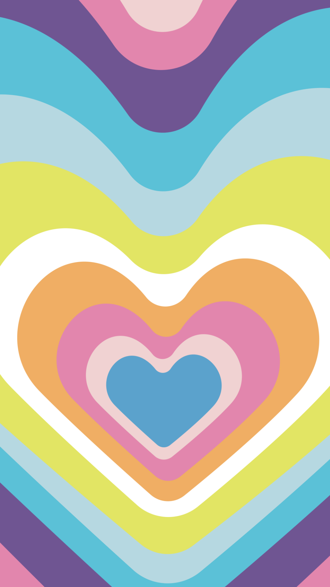 Summer phone wallpaper with hearts in a ringed pattern